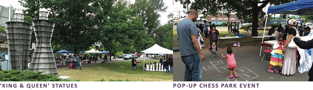 King and Queen Statues and Pop-Up Chess Park Event